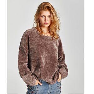 Zara Knit Chenille Brown Sweater